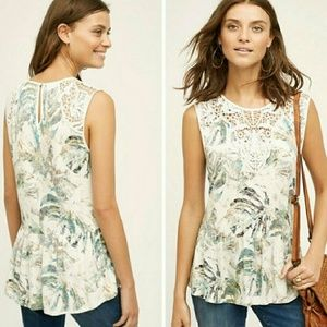Anthro Meadow Rue Printed Crochet Ruffle Top